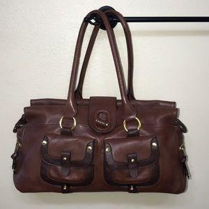 London Fog Brown leather handbag purse